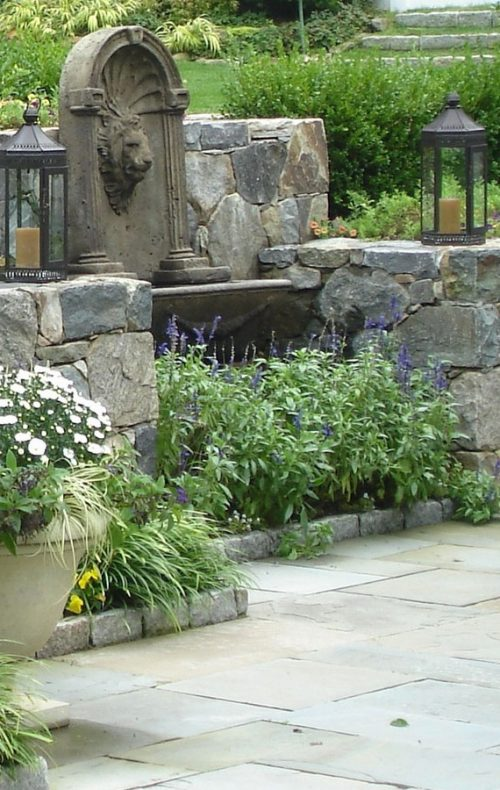 Stone wall with plantings
