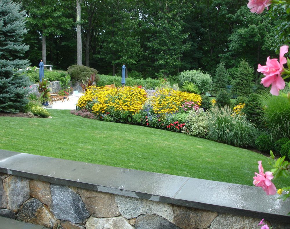Fairfield landscape design stone seat