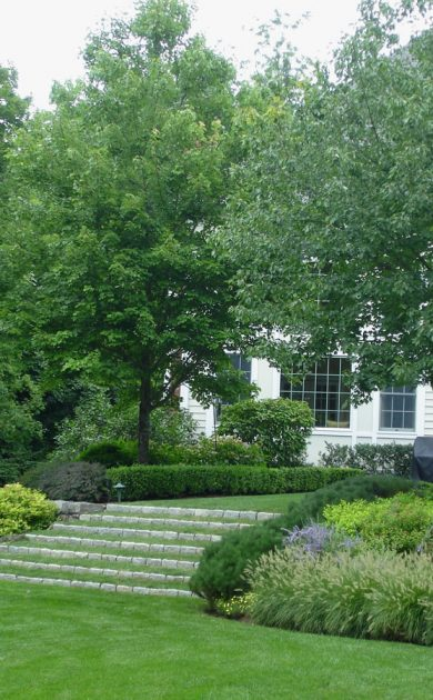 Katonah, New York landscape design with Jan Johnsen lawn stairs