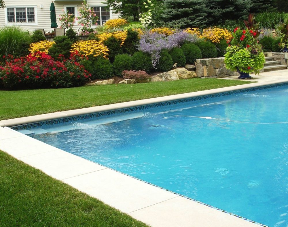 Fairfield landscape design pool, lawn and gardens