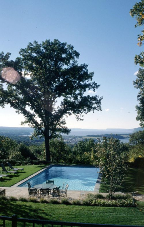 Westchester landscape design - Hudson River views with pool