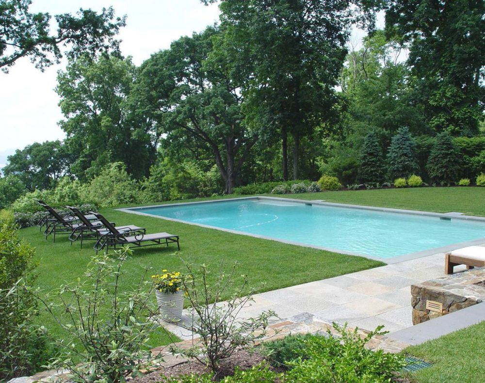 Westchester landscape design - swimming pool and Hudson River view