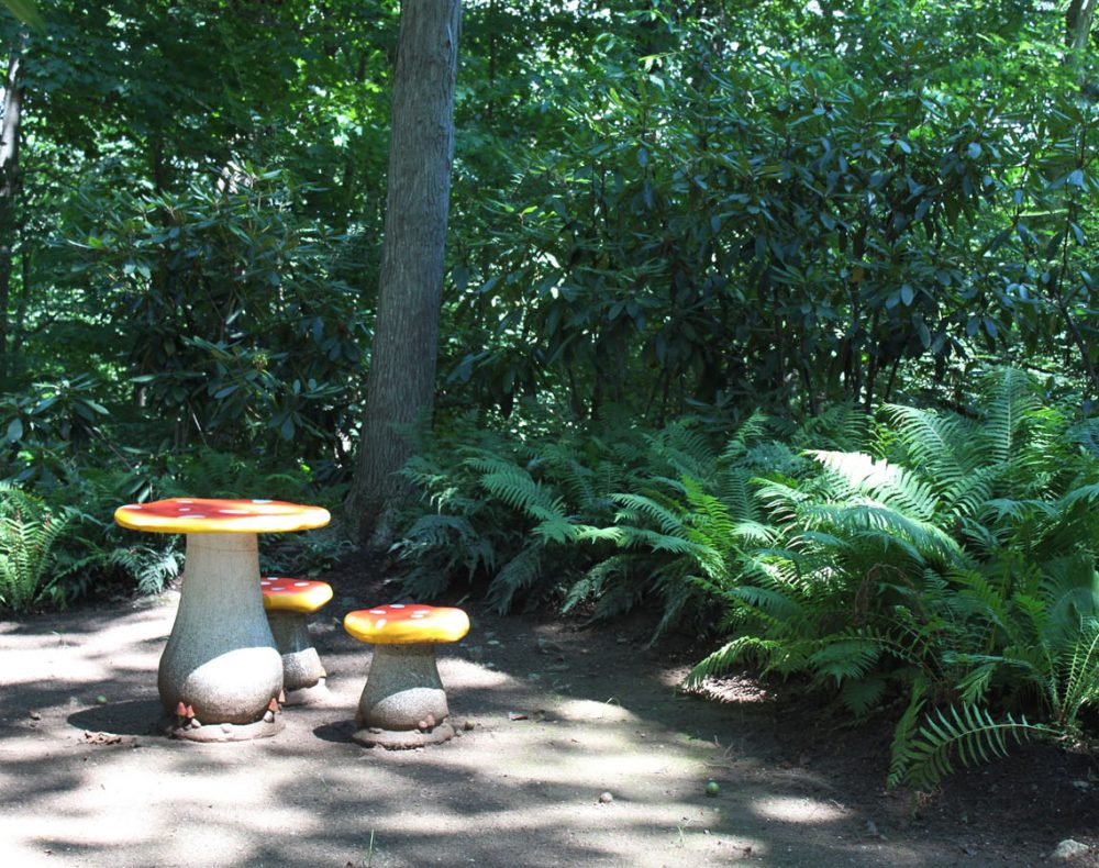 Westchester landscape and pool design garden stools and table