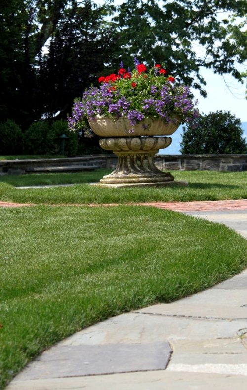 stone walk, lawn, stone planter with views of Hudson Valley