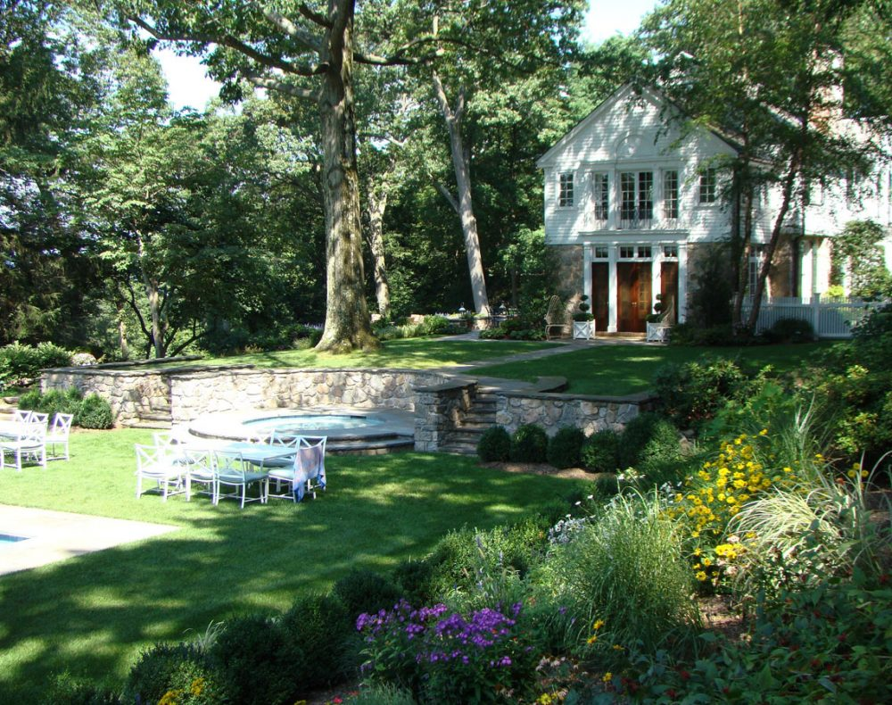 Hudson river landscape and gardens with spa