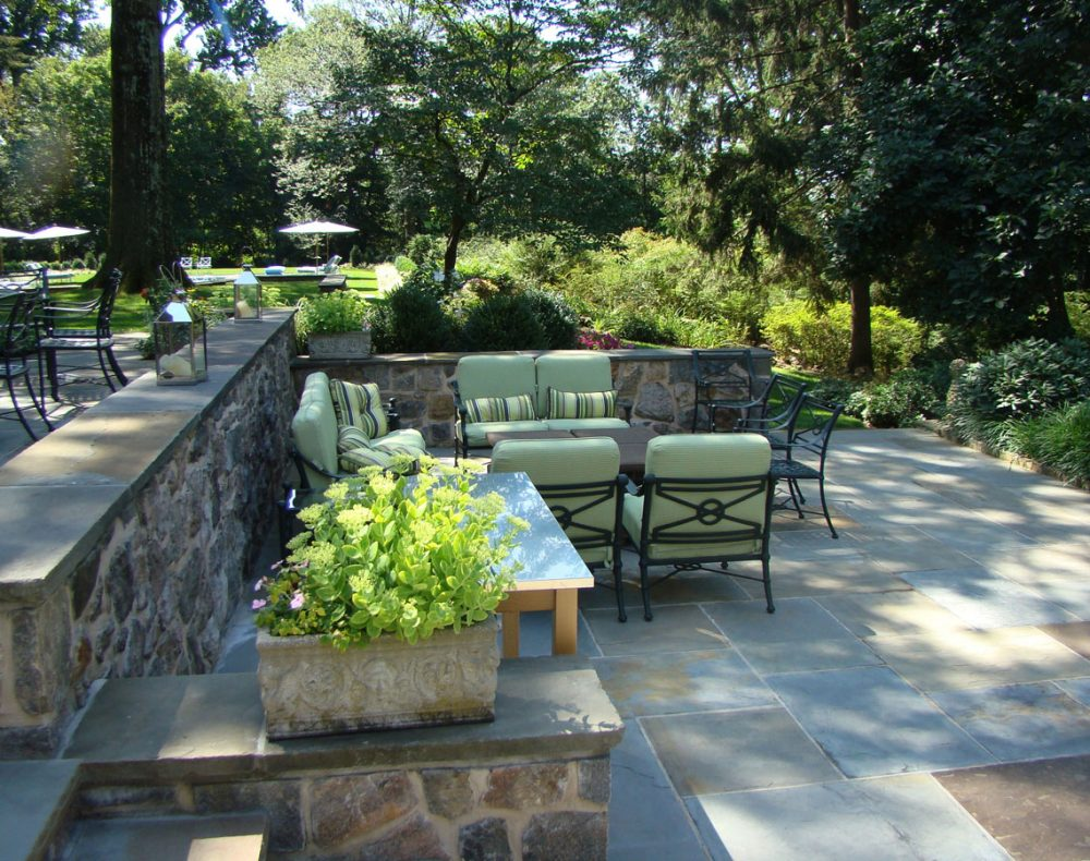 Westchester slate patio along the Hudson River