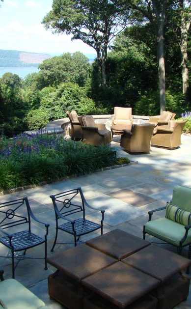 Hudson Valley views garden with stone patio