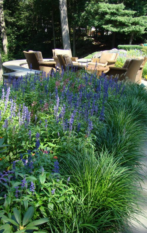Sleepy Hollow garden plantings along patio