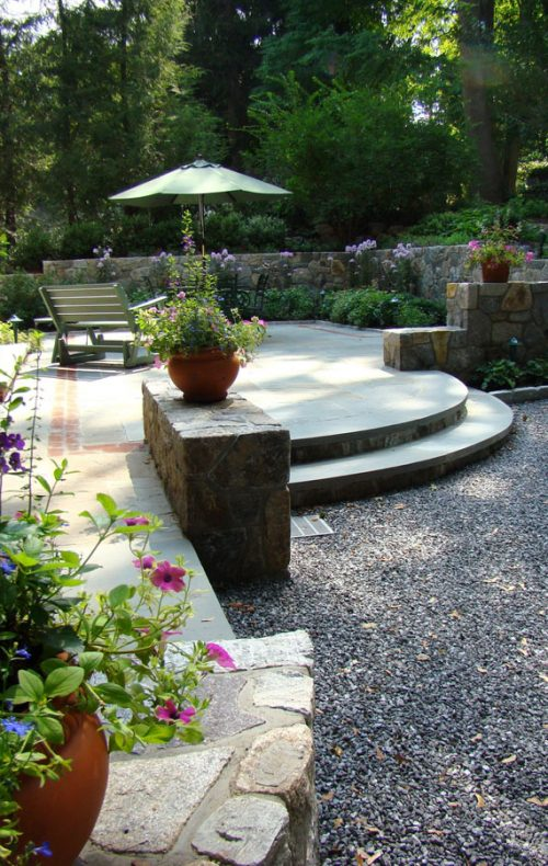 Arts & Crafts home garden stone patio and walls
