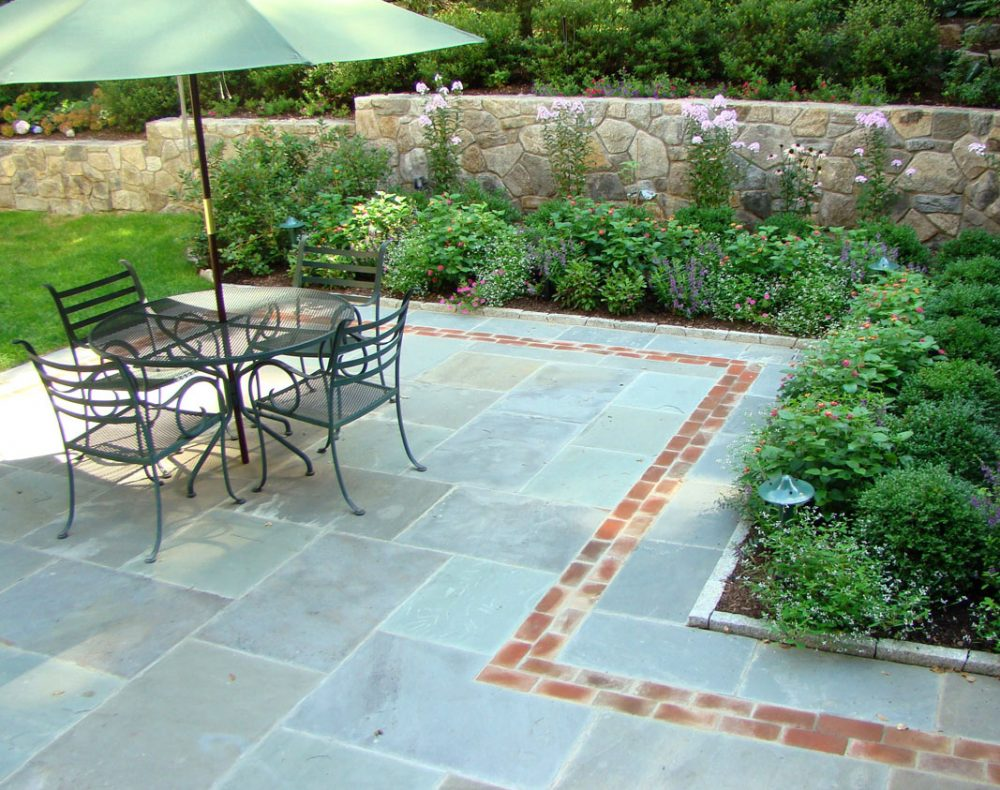 Arts & Crafts home garden slate patio and planting beds