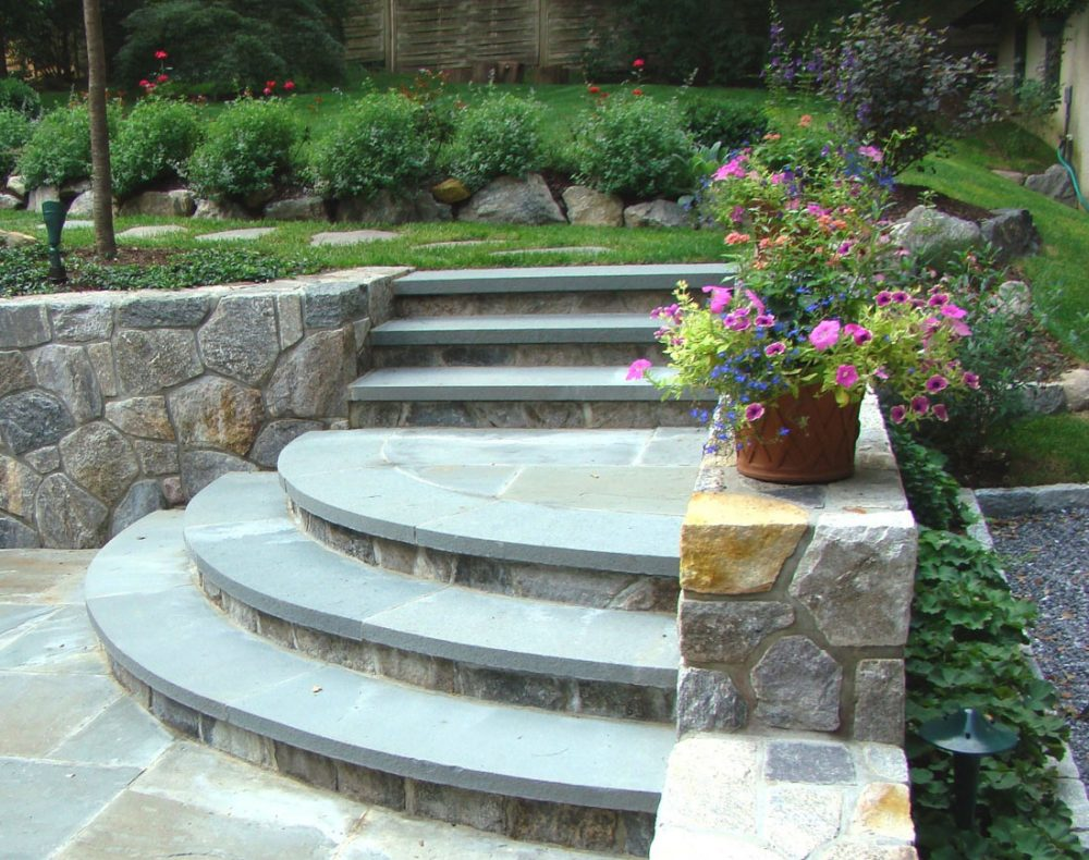 Arts & Crafts home garden patio stone stairs