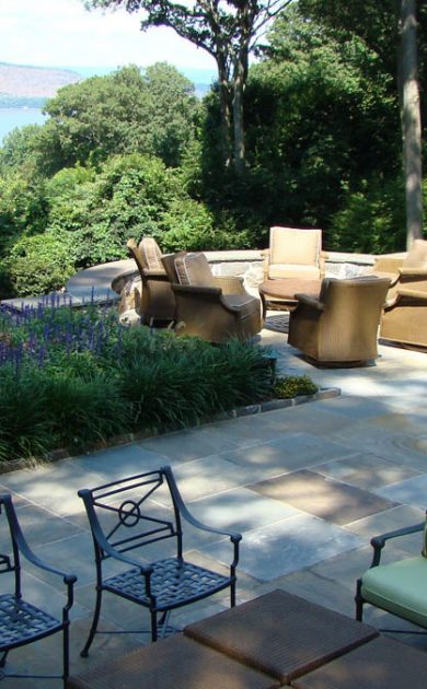 Stone patio overlooking the Hudson River in Sleepy Hollow, NY