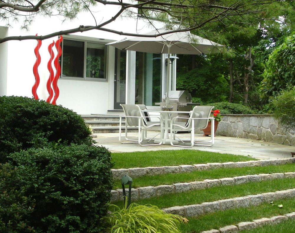 patio with sculpture in Westchester