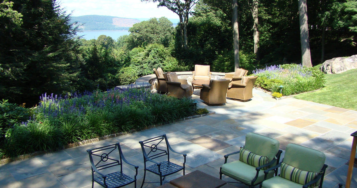 Overlooking the Hudson River - slate stone patio